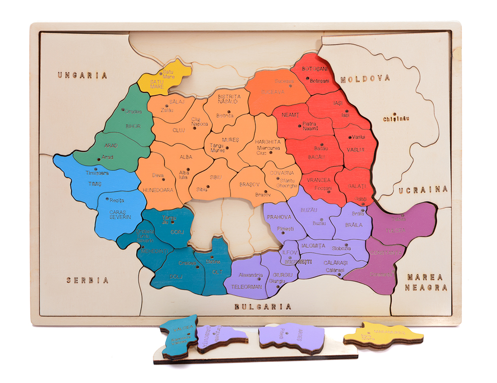Hai Să Invăţăm Despre Romania Hartă Colorată Decor Pentru Copii