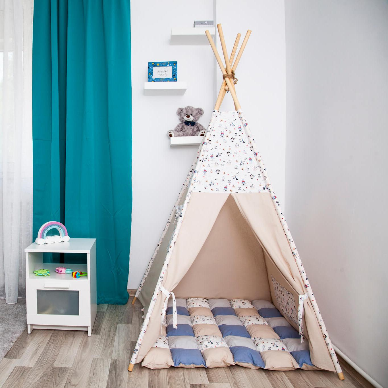 BLUE PIRATES - cort teepee cu salteluță joacă inclusă