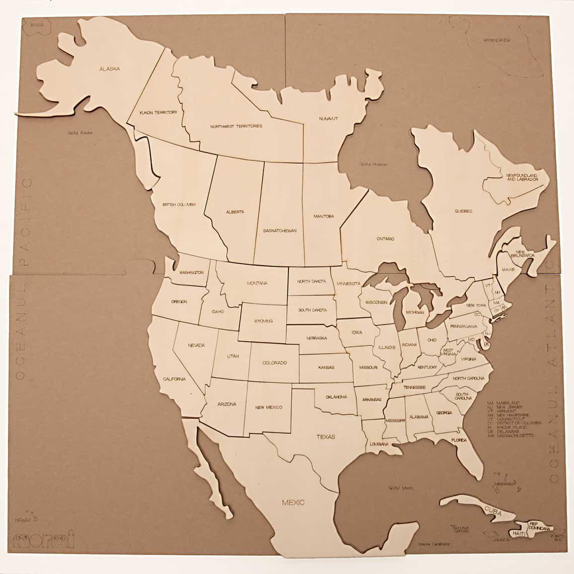 Hartă America De Nord Puzzle Decor Pentru Copii