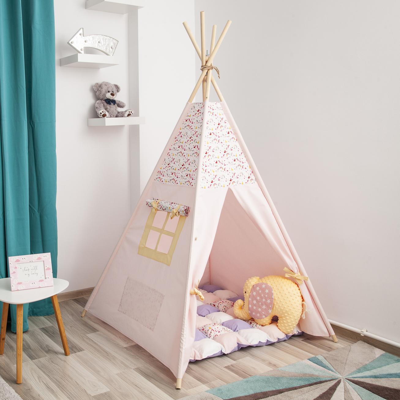 PINK ANIMALS - cort teepee cu salteluță premium inclusă