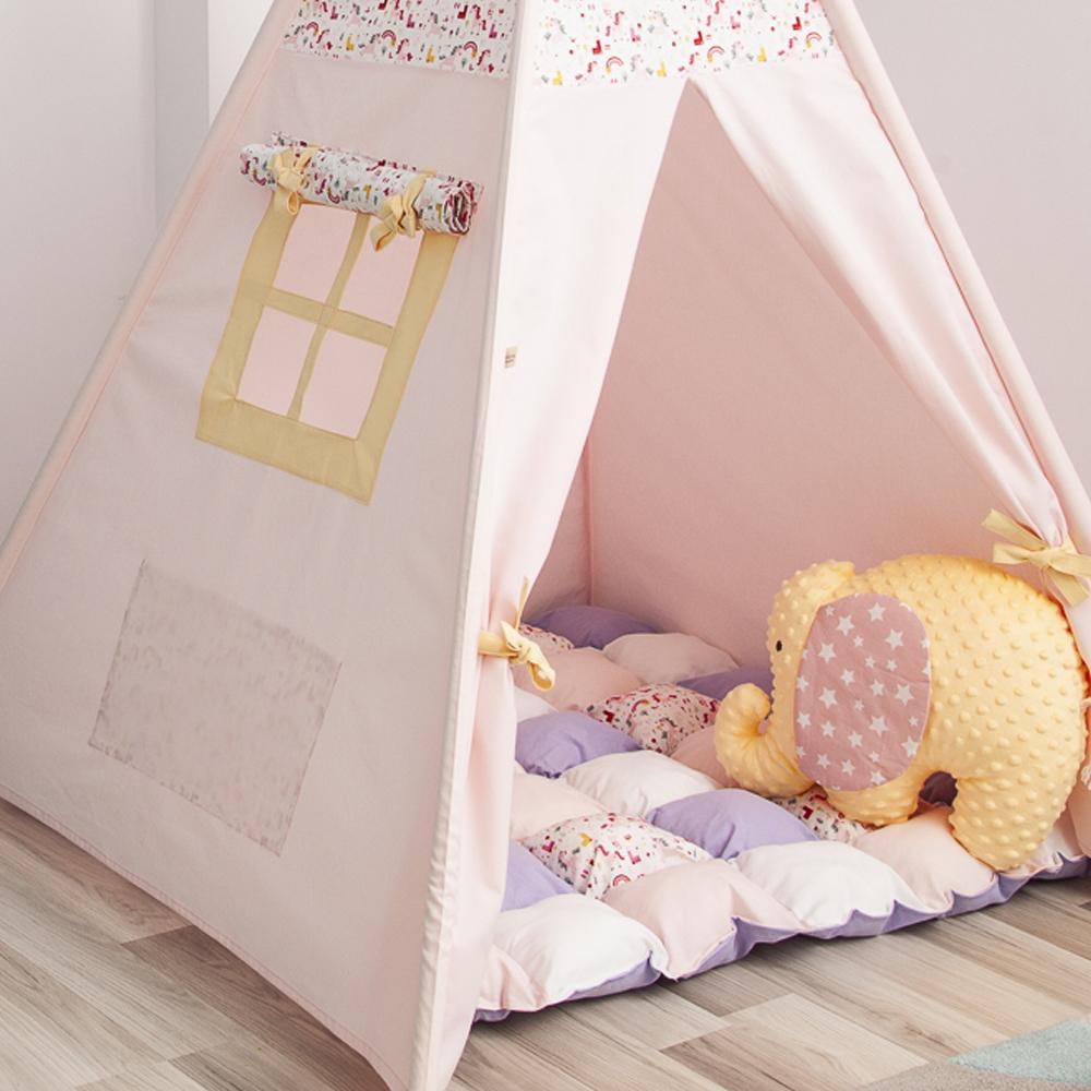 PINK ANIMALS - cort teepee cu salteluță premium inclusă - 9702