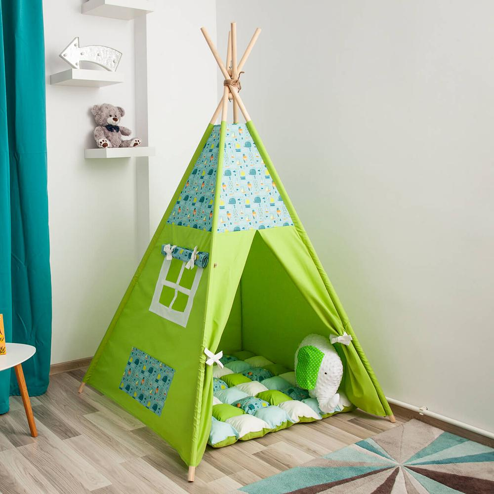 SNAZZY GREEN - cort teepee cu salteluță premium inclusă