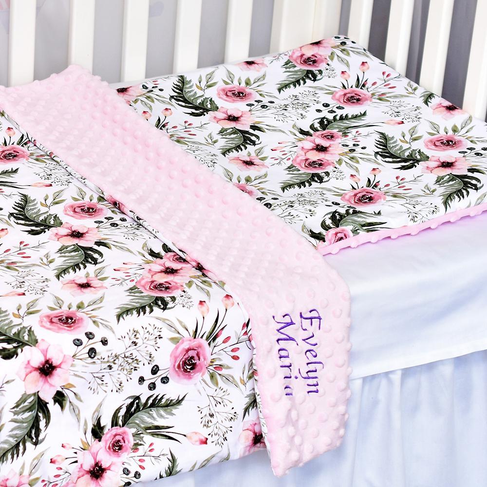 TRANDAFIRI - set păturică minky